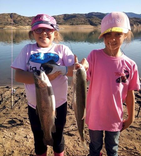 Fishing buddies samantha r and samantha c getting it for Irvine lake fishing