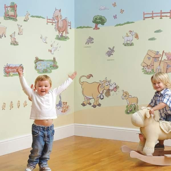 The Funberry Sticker Kit will transform any nursery into a farm setting includes 72 peel and stick stickers