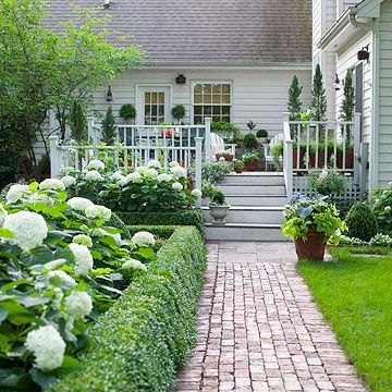 brick pathway.: Brick Paths, Boxwood Hedges, Decks, Gardens Paths, Brick Walkways, Pathways, House, Landscape, White Hydrangeas