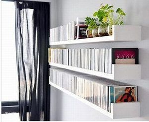 These floating shelves would be a good idea for DVDs in a media room