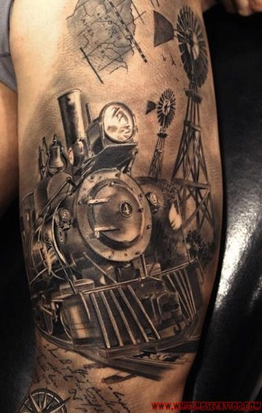 Grey Ink 3D Train Tattoo Design