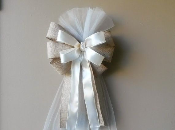 Burlap and Ivory Tulle Pew Bow-This beautiful bow is perfect touch for the rustic wedding, church pews, anniversaries, wedding gifts, doors, chairs, stair rails, mailboxes, tree toppers, wreaths, lamp posts, or any party accent or gift!