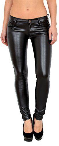by-tex Pantalon femme Jean femmes slim pantalon en cuir pour femmes cuir  simili pantalon H12 c0e35fef54f