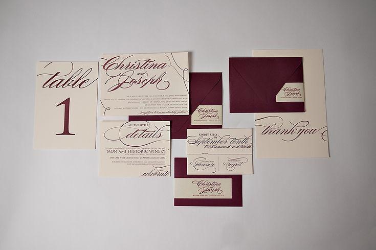 REAL Wedding: Christina and Joseph | Burgundy and Ecru Letterpress Wedding Invitations