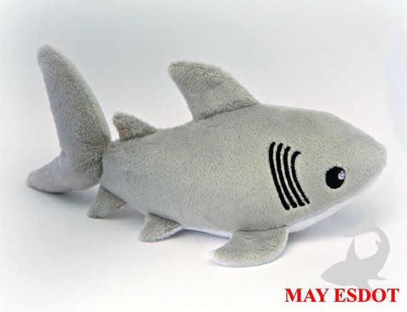 great white shark plush custom color and size baby by mayesdot - Hai Kissen Muster