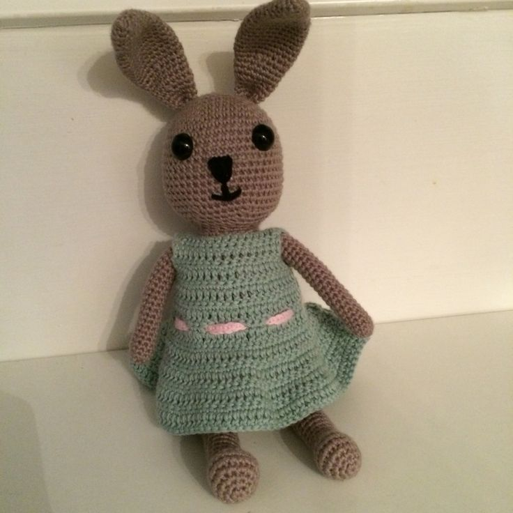 Crochet Bunny with dress for a little Girl.