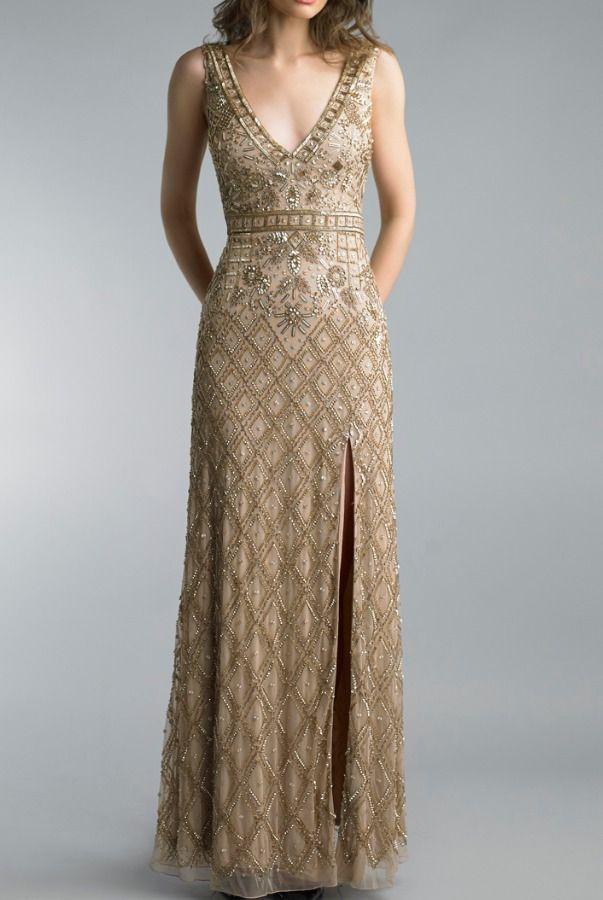 85d56214034b1 Basix Black Label Gold Beaded Sleeveless Deep V Neck Evening Gown   Poshare