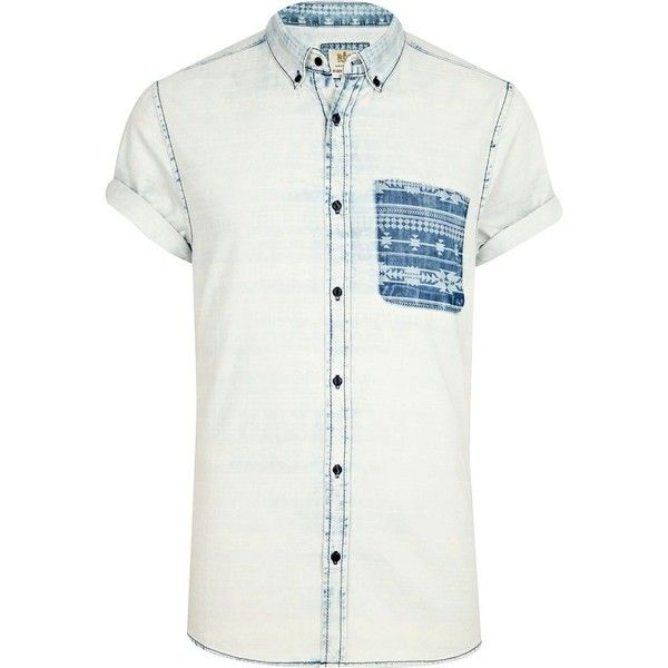 River Island Light acid wash aztec pocket denim shirt ($19) ❤ liked on Polyvore featuring men's fashion, men's clothing, men's shirts, men's casual shirts, shirt's, sale, mens aztec print shirt, mens casual button down shirts, mens aztec shirt and mens short sleeve casual shirts