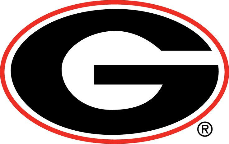 Georgia Bulldogs Primary Logo (1964) - A black G in a red oval. Updated.