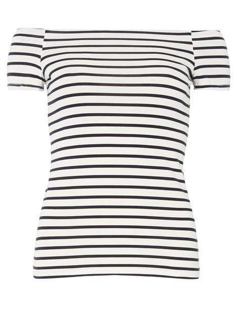 Ivory & Navy bardot top - View All Sale - Sale & Offers - Dorothy Perkins Europe