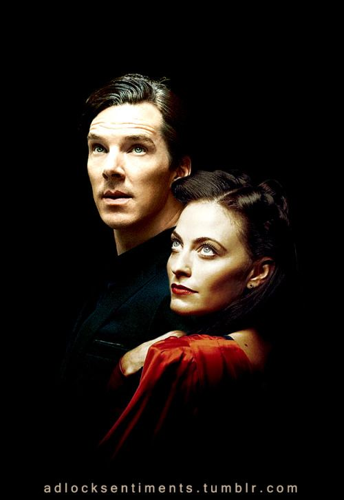 adlocksentiments:  Sherlock and Irene in disguise? ;) Ben's image from @duskybatfishgirl Lara's image from @nixxie-fic   lovely!