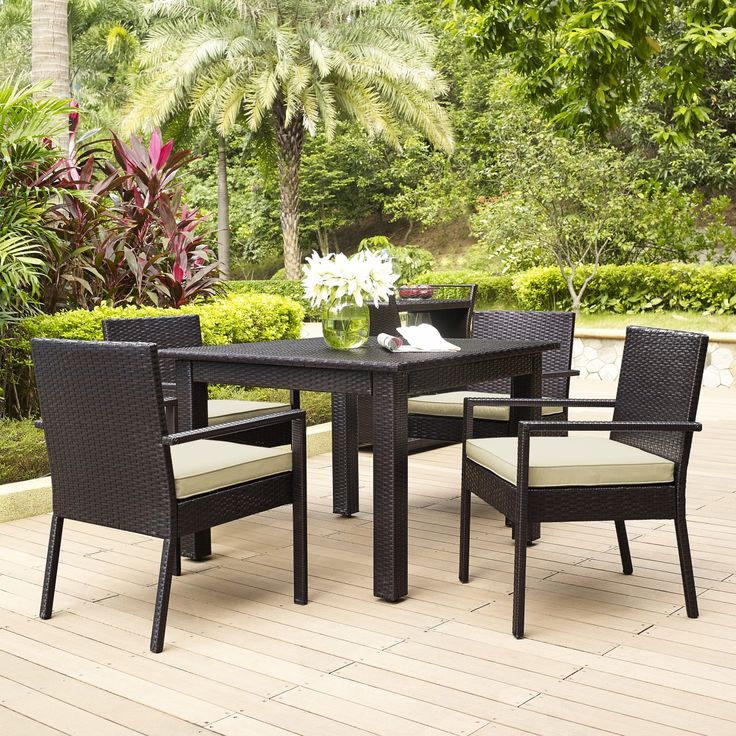 Palm Harbor Outdoor Wicker 5 Piece Dining Set By Crosley