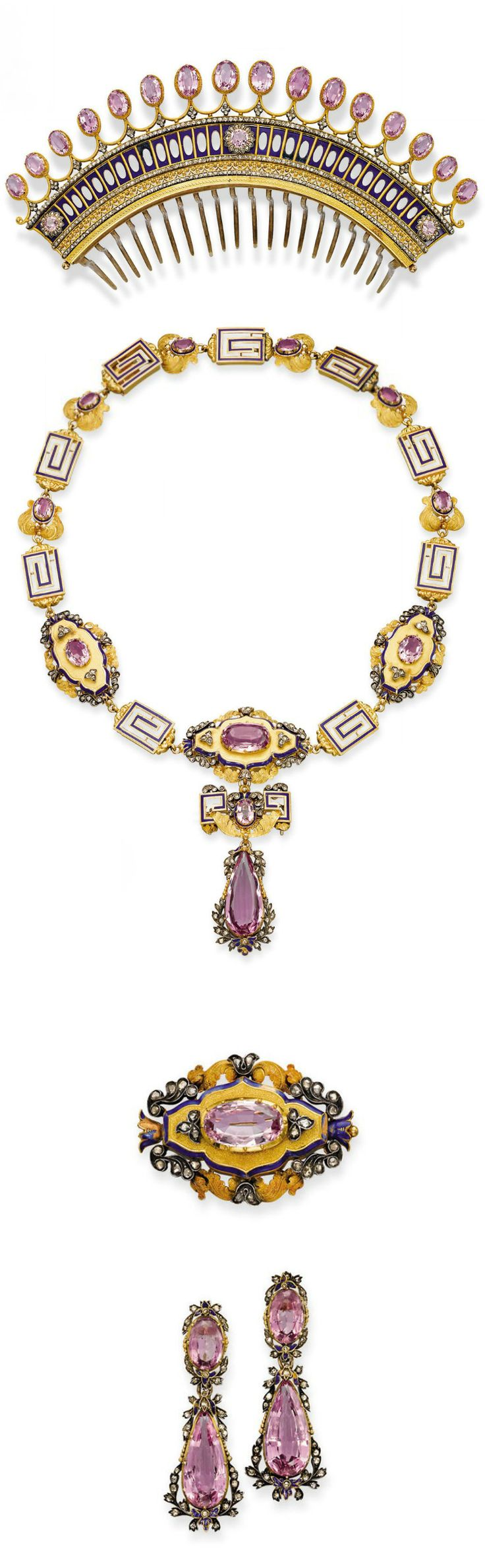 AN ANTIQUE PINK TOPAZ, ENAMEL, DIAMOND & GOLD PARURE.   Comprising: a comb tiara set with a fringe of oval pink topazes to the openwork gold, blue enamel & diamond decoration; a necklace/choker with removeable links supporting a detachable plaque brooch & topaz pendant; a pair of earrings with detachable pendants; & a brooch with pendant hoop, all of neo-classical & foliate design, mounted in silver & gold, circa 1840. [brooch and earrings blown up for detail]