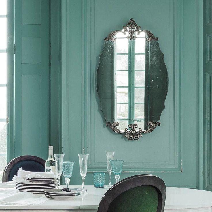 Bronskleurige LYDIANE metalen ovale spiegel H 101 cm