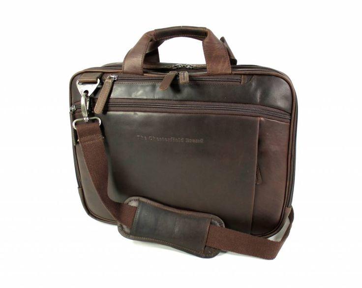 Chesterfield Heren aktetas Laptop tas George Pull up Bruin