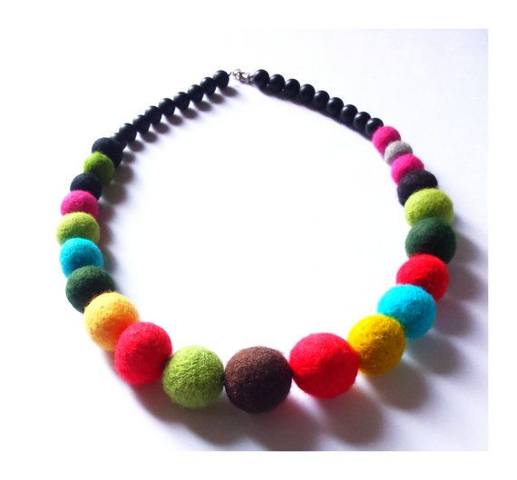 Colorful felted necklace felt balls light beads by MarudaFelting
