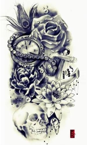 rose, other flowers, skull, peacock feather, pocket watch, anchor by lolita