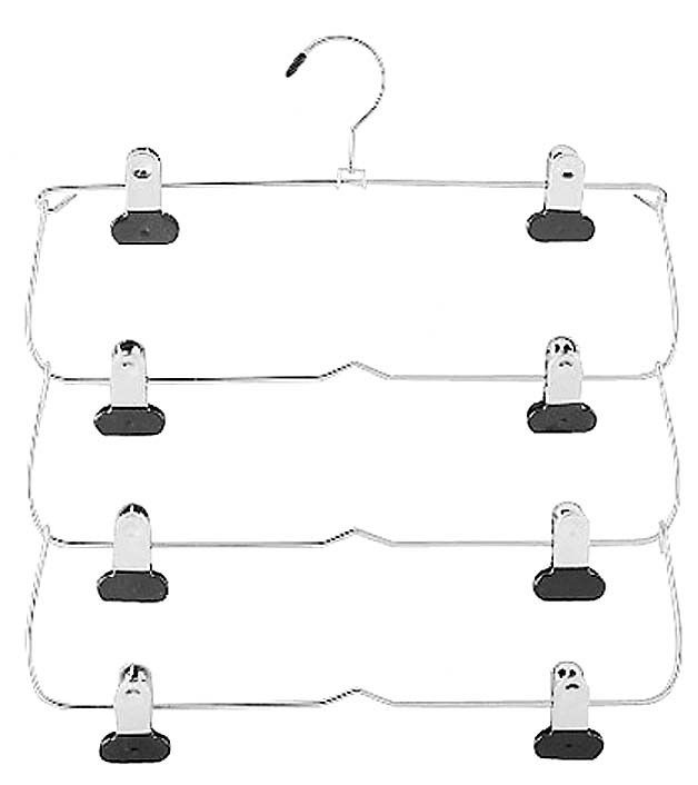 Features:  -Folding skirt hanger.  -Creates extra vertical hanging space in any closet.  -Hang up to four skirts.  -Makes storage easy and convenient.  -Conserves space and organizes your closet.  -4