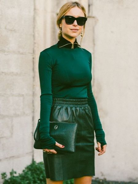 matching green top, skirt and purse