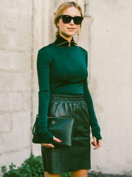 matching green top, skirt and purse