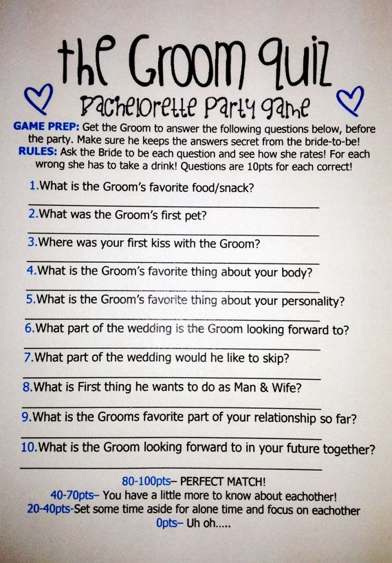Groom Quiz Bachelorette In 2018 Party Pinterest Bridal Shower Wedding And