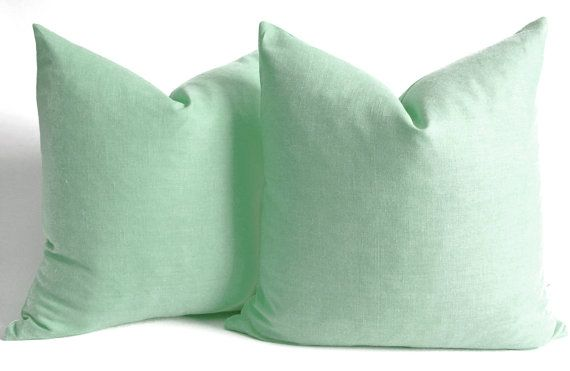 NEW  Pillow Cover Mint Green  Celadon Pillow Cover  Mint by sukan, $17.50     lets keep the room soft and neutral w mostly grey and white mixed w cool wood colors and silver and acrylic material  a shot of this mint green on the daybed would add a nice color  can easily change pillows and wall color and/or accessories to pink or blue if u wanted