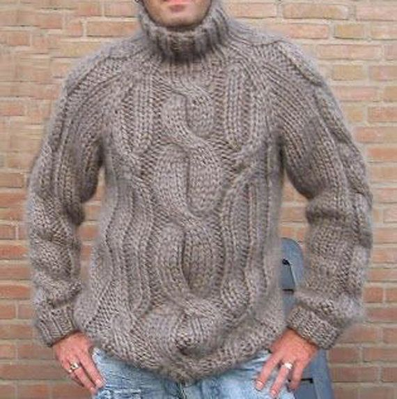 MADE TO ORDER men's Turtleneck mohair Sweater v-neck men crewneck hand knitted sweater pullover men clothing handmade men knitting cabled