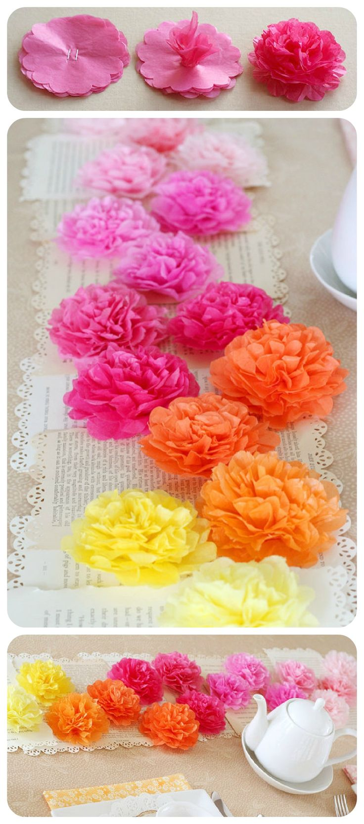Tissue Paper Flower Runner: Use around 8 sheets of tissue paper for each flower and punched all 8 layers at once. Staple together your stack of flowers (3.5 inch size). Scrunch up your first flower layer to the center. Repeat with each layer and then fluff back out to form flower. Adhere the flowers to a base of book pages border punched down each side to add to the elegant feel. Be sure to adhere both the pages and flowers altogether.