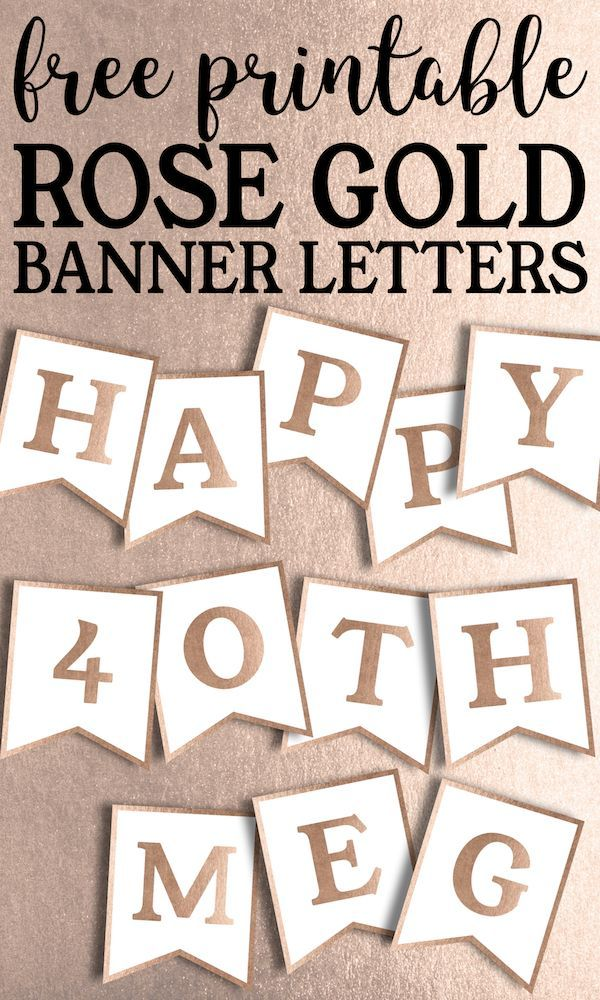 Free Printable Rose Gold Banner Template Happy Birthday Banner
