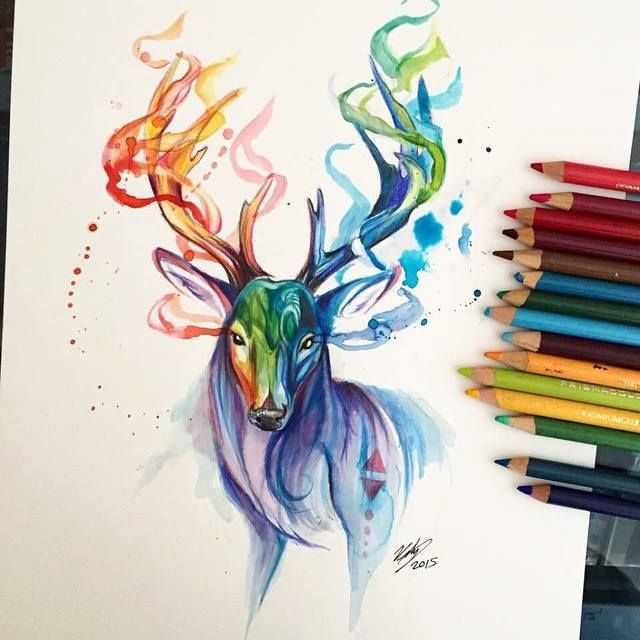 Full of color drawing by Katy Lipscomb, 2014, watercolor pencils