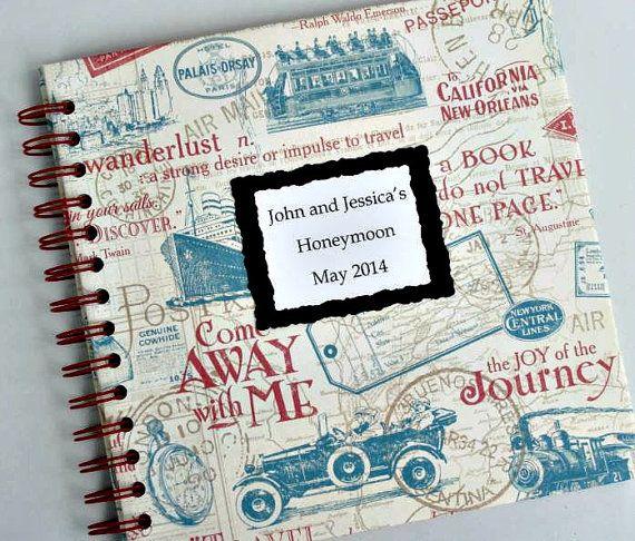 Vintage Inspired Travel Journal with Personalized Cover   Honeymoon Journal   Travel Album   Honeymoon Album   Handmade Photo Album