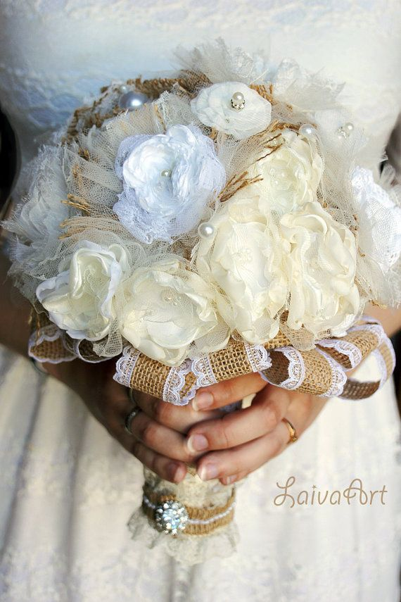 Rustic Wedding Flowers Bridal Bouquet Burlap Bouquet by LaivaArt