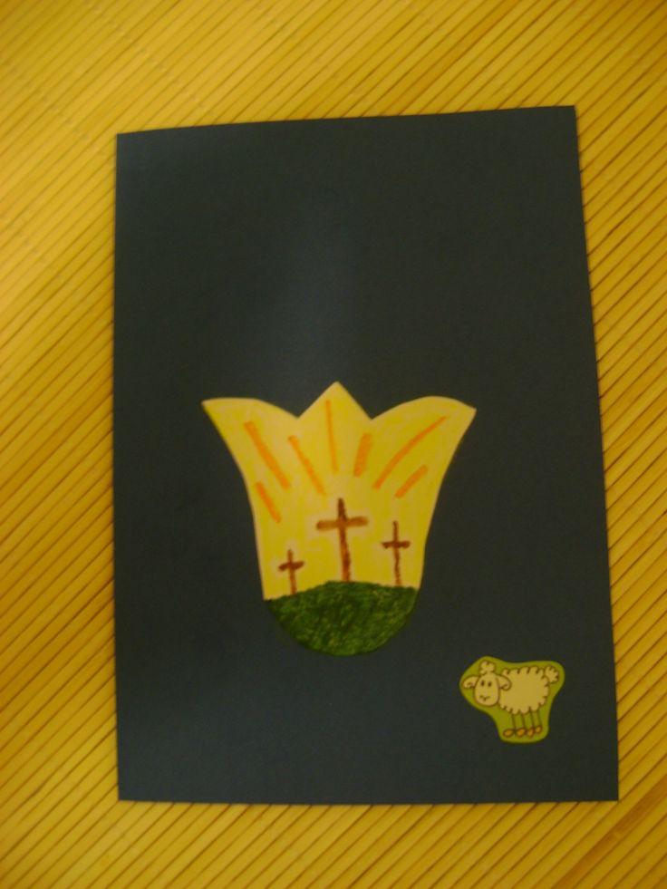 Húsvétra képeslap (kartonból sniccerrel vágtam ki a tulipán formát, a rajz saját kezű)