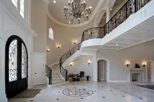 I wouldn't mind a staircase like thisDecor, Black Doors, Grand Entrance, Interiors, Dreams House, Black White, Entrance Hall, Doors Frames, Future Wedding