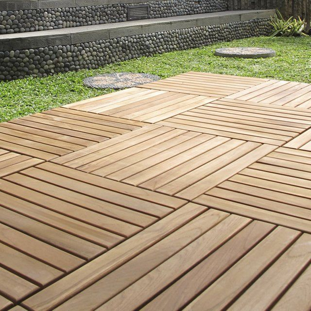 Dalle Clipsable Bois Marron Naturel Miel L 40 X L 40 Cm X Ep 25 Mm Dalle Bois Dalle Bois Terrasse Dalle Clipsable