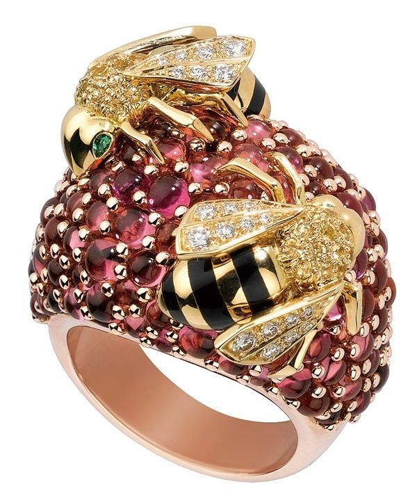 Ruby, diamond, emerald, enamel and gold bee ring by Cartier.