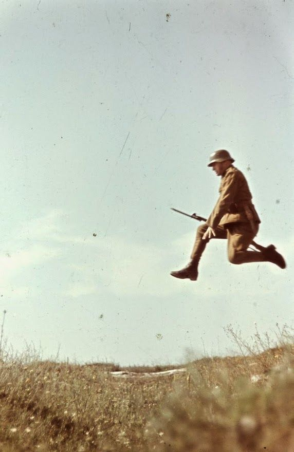 Hungarian soldier training by photographer Konok Tamás. He was less interested in the war, but rather the landscapes, ordinary people, or even the movement itself: This picture derived from the image sequence which recorded the different stages of the jump.