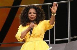 Oprah Winfrey onstage at the Toyota Center in Houston, Texas