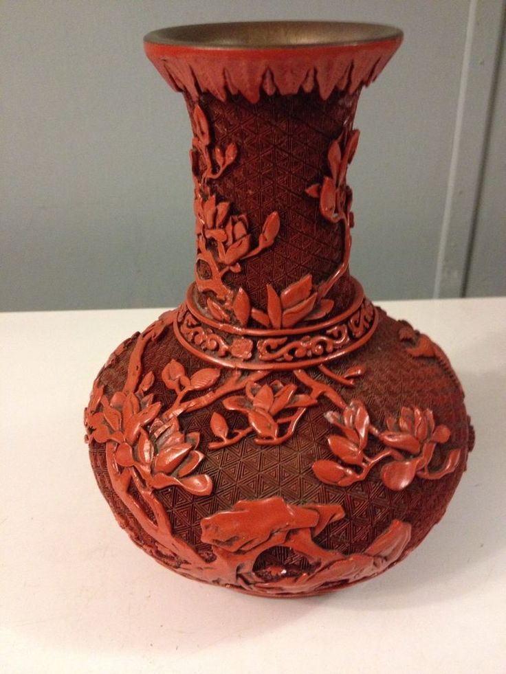 Details About Vintage Chinese Carved Cinnabar Lacquer Vase