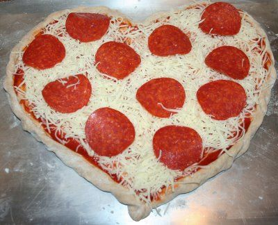 Heart Shaped Pizza for Valentine's Day.  Similar to the one Papa Murphy's does, but make it at home instead!