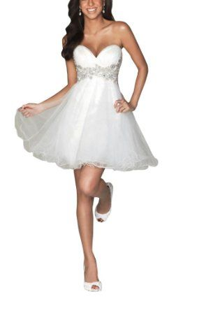 Amazon.com: GEORGE BRIDE Strapless White Cocktail Dress: Clothing