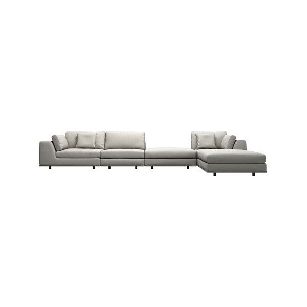 MODLOFT Perry 1 Arm Corner Sofa with 2 Ottomans (€2.565) ❤ liked on Polyvore featuring home, furniture, sofas, grey, modloft, gray couch, modular couch, grey corner sofa and grey fabric corner sofa