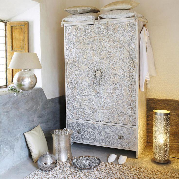 Armoire en manguier massif blanche et argent e l 110 cm for Maison du monde 54