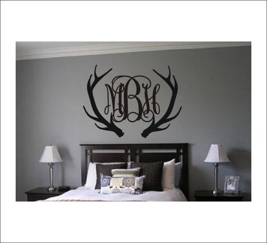 Antler Monogram Decal Antler Monogram Wall by CustomVinylbyBridge