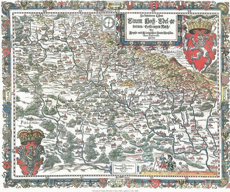 Pierwsza mapa Śląska, Martina Helwinga z 1561 r. (orientacja południowa)