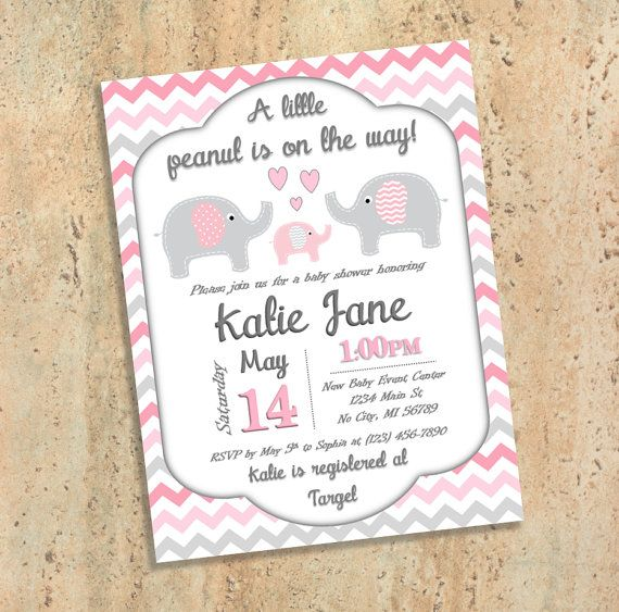 Pink and Grey Elephant Baby Shower by BluePandaInvitations on Etsy
