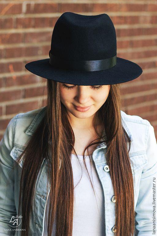 Купить Шляпа Федора Unisex. Цвет черный - черный, однотонный, шляпа, черная шляпа, федора