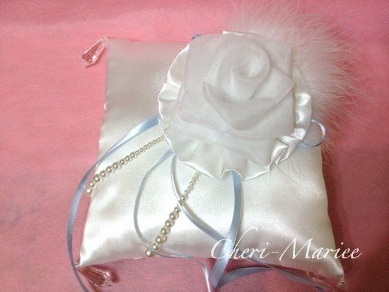 オーガンジーのバラが素敵なモダンリングピロー(ホワイト)キット【リングピロー手作りキット&完成品通販シェリーマリエ】