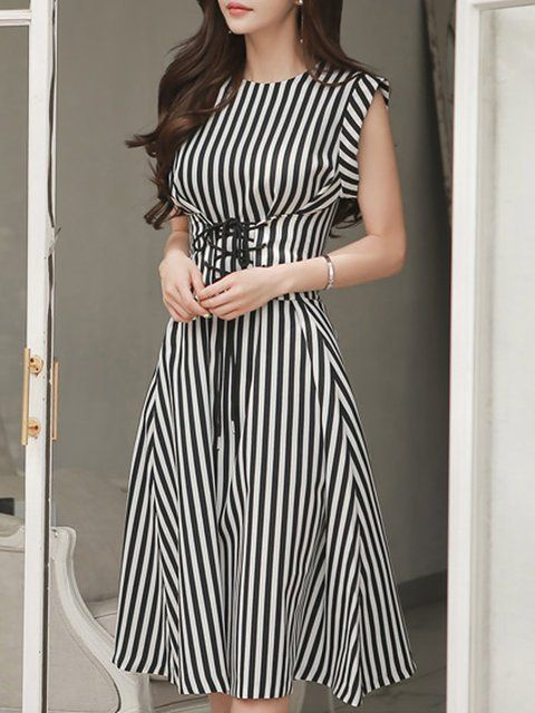 Buy Midi Dress For Women from A-THENA at Stylewe. Online Shopping Stylewe  Black-white Midi Dress A-line Dress Sleeveless Work Lace up Striped Dress 40958ed6c0c3
