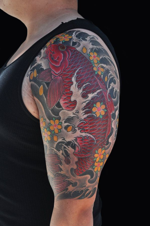 Japanese traditional koi fish tattoo by luke stewart for Japanese coy fish tattoo